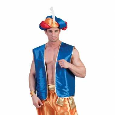 Blauw arabisch vest voor volwassenencarnavalskleding