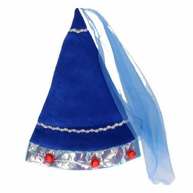 Blauw fee hoedje voor volwassenencarnavalskleding