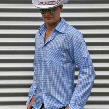 Blauw geruit cowboy overhemd voor herencarnavalskleding