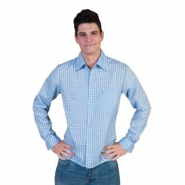 Blauw geruit heren overhemdcarnavalskleding