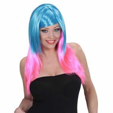 Blauw met roze pruik voor damescarnavalskleding