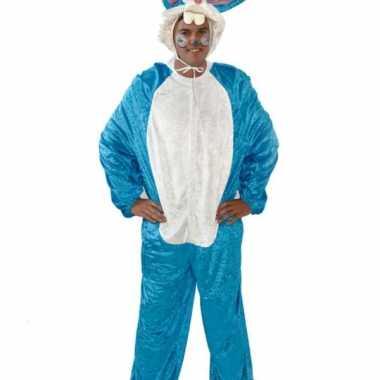 Blauw paashaas pak voor volwassenen carnavalskleding