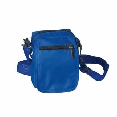 Blauw schoudertasje van polyester 15 cmcarnavalskleding