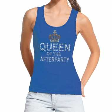 Blauw toppers queen of the afterparty glitter tanktop damescarnavalsk