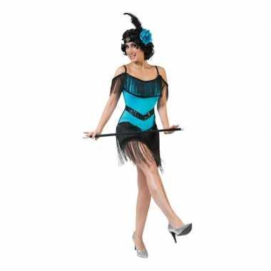 Blauw/zwart jaren 20 jurkje voor damescarnavalskleding