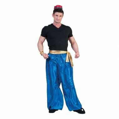 Blauwe arabische broek voor herencarnavalskleding