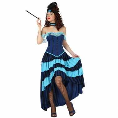 Blauwe cancan danseressen jurk carnavalskleding