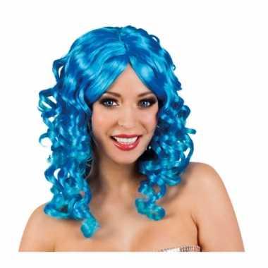 Blauwe glamour damespruik golvend haarcarnavalskleding