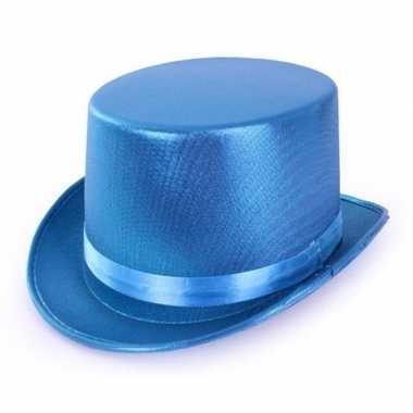 Blauwe glimmende hoge hoed voor volwassenencarnavalskleding