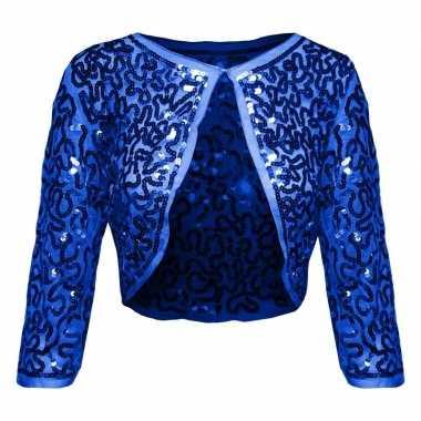 Blauwe glitter pailletten disco bolero jasje damescarnavalskleding