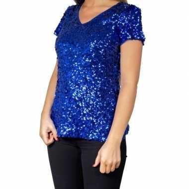 Blauwe glitter pailletten disco shirt damescarnavalskleding