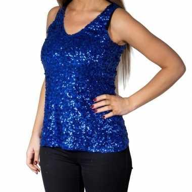 Blauwe glitter pailletten disco topje/ mouwloos shirt damescarnavalsk
