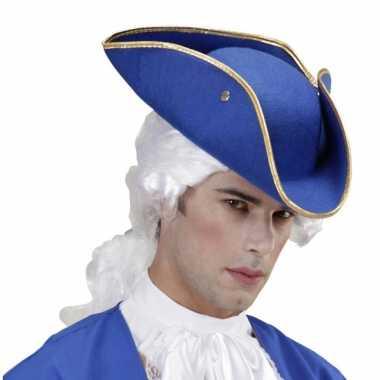 Blauwe lakei hoedcarnavalskleding