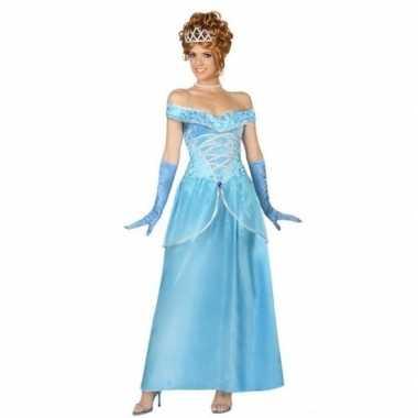 Blauwe prinsessen verkleed jurk voor damescarnavalskleding