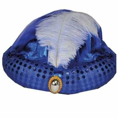 Blauwe tulband met lange witte veercarnavalskleding