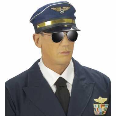 Blauwe vliegeniers petcarnavalskleding