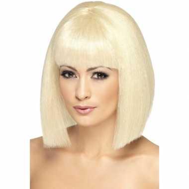Blonde dames pruik stijl haar carnavalskleding