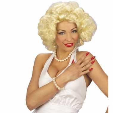 Blonde korte krullende pruiken carnavalskleding