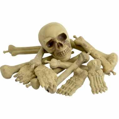 Botten en schedel in een net carnavalskleding