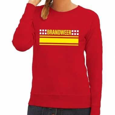 Brandweer logo sweater rood voor damescarnavalskleding