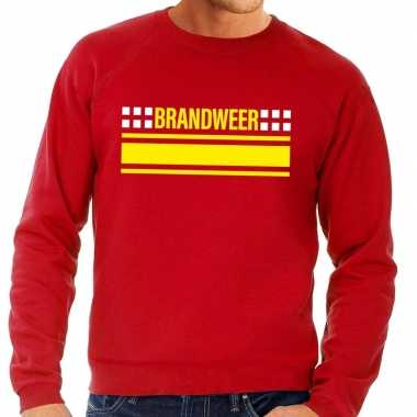 Brandweer logo sweater rood voor herencarnavalskleding