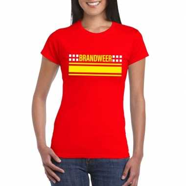 Brandweer logo t-shirt rood voor damescarnavalskleding