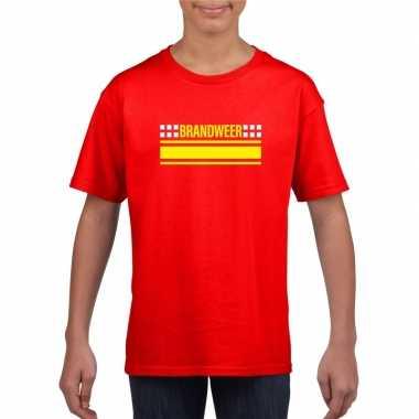 Brandweer logo t-shirt rood voor kinderencarnavalskleding