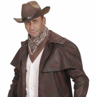 Bruin cowboy sjaaltje wilde westen thema 55 x 55 cmcarnavalskleding