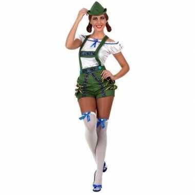 Carnaval/bierfeest verkleedkleding sexy groen/wit kostuum voor damesc
