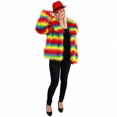 Carnaval bontjas regenboog kleuren voor damescarnavalskleding