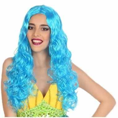 Carnaval dames pruik zeemeermin blauwcarnavalskleding