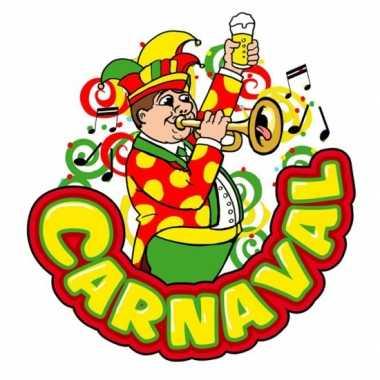 Carnaval deco bord muzikant met trompet van plastic 35 x 40 cmcarnava