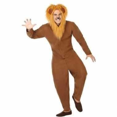 Carnaval dieren kostuum bruine leeuw voor volwassenencarnavalskleding