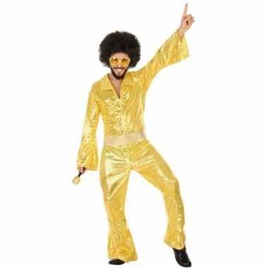 Carnaval disco verkleedkleding gouden pailletten jumpsuit voor herenc