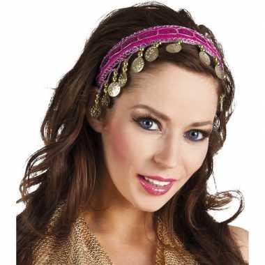 Carnaval esmeralda buikdanseres hoofdband fuchsia roze voor damescarn