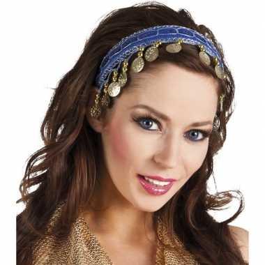 Carnaval esmeralda buikdanseres hoofdband kobalt blauw voor damescarn