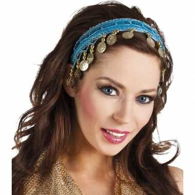 Carnaval esmeralda buikdanseres hoofdband turquoise blauw voor damesc