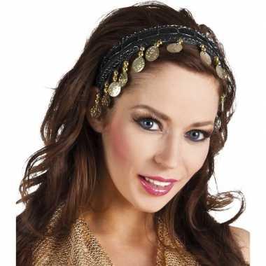Carnaval esmeralda buikdanseres hoofdband zwart voor damescarnavalskl