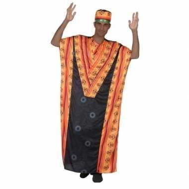 Carnaval/feest afrikaanse kaftan/jurk verkleedoutfit voor herencarnav