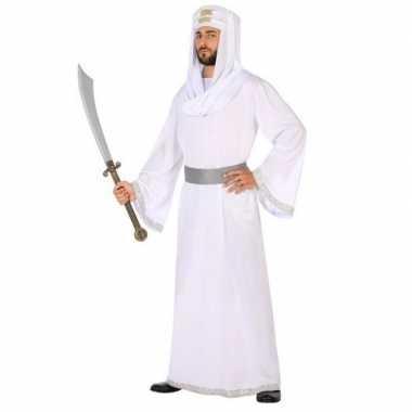 Carnaval/feest arabische strijder/prins hassan verkleedoutfit wit/zil