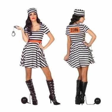 Carnaval/feest boeven/gevangenen bonnie verkleedoutfit jurkje voor da