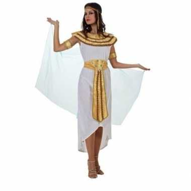 Carnaval/feest cleopatra verkleedoutfit witte/gouden jurk voor damesc