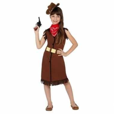 Carnaval/feest cowboy/cowgirl verkleedoutfit bruin voor meisjescarnav