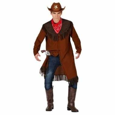 Carnaval/feest cowboy verkleedoutfit bruin voor herencarnavalskleding