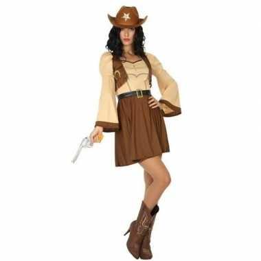 Carnaval/feest cowgirl/cowboy cassidy verkleedoutfit bruine jurk voor
