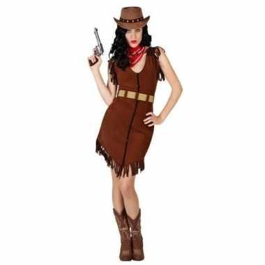 Carnaval/feest cowgirl verkleedoutfit bruin voor damescarnavalskledin