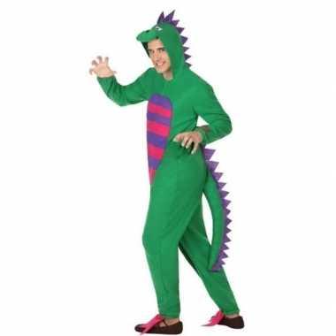 Carnaval feest groene draak verkleed outfit voor volwassenen carnavalskleding