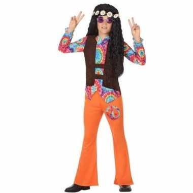 Carnaval/feest hippie verkleedoutfit oranje voor jongenscarnavalskled