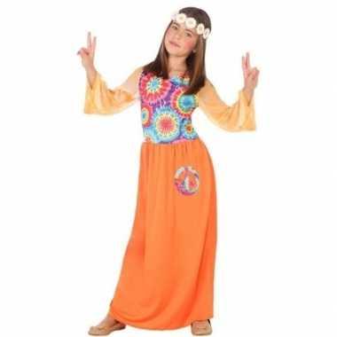 Carnaval/feest hippie verkleedoutfit oranje voor meisjescarnavalskled