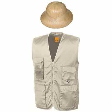 Carnaval/feest jungle explorer verkleed setje vest en tropenhelm voor